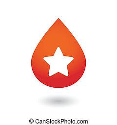 droppe, stjärna, blod