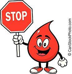 droppe, stopp, blod, underteckna