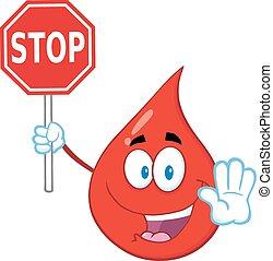 droppe, stoppskylten, blod, holdingen, röd