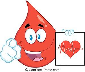 droppe, tecken, blod, röd