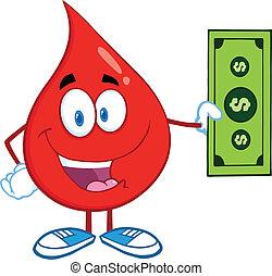 droppe, visande, lagförslag, dollar, blod