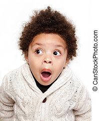 Dropped jaw open eyes shocked child isolated on white ...