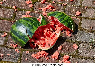 Dropped watermelon on the ground