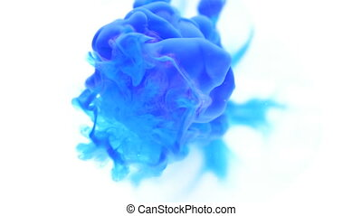 Dropping blue ink paint exploding in water abstract background