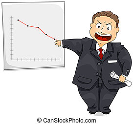 Angry Boss showing drop in Chart with Clipping Path