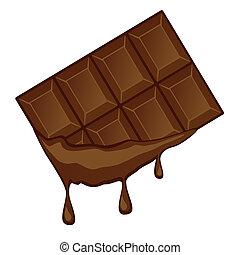 drops., écoulement, chocolat