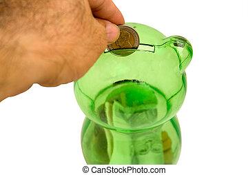 Drops a coin bank.2