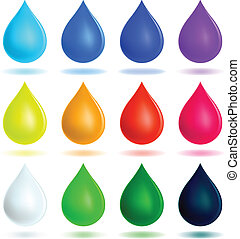 Colorful drops set