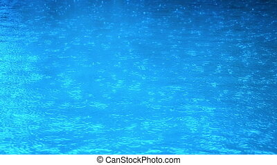 Drops in rain pool slow motion