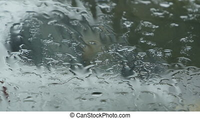 rain on the windshield of the car - drops of autumn rain on ...