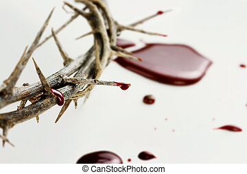 Drops of Blood - Crown of thorns with drops of blood over...