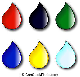 Drops of different liquids like blood, oil, syrup, water, juice, honey, tear