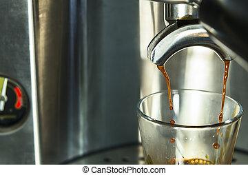 drops of espresso coffee being drawn to one shot - espresso ...