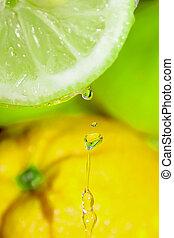 Drops of orange juice.