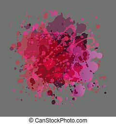 Drops of paint pink and purple colors on a gray background