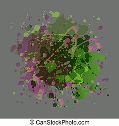 Drops of paint purple and green colors on a gray background
