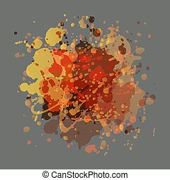 Drops of paint yellow orange and peach colors on a gray background