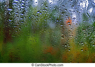Drops of rain on a window. Blur autumn yellow-green forest in background. Autumnal rainy landscape.