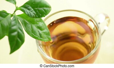 drops of tea - tea leaves dripping water into teacup, slow...