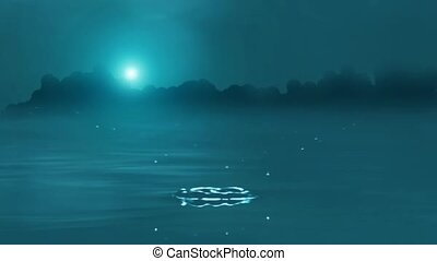 Drops of Water on Night Lake