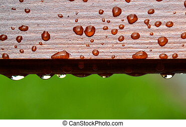 drops of water on wood