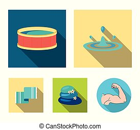 Drops of water, pool or basin with hot water, spa stones with lotus flowers, towel for the pool. Spa set collection icons in flat style vector symbol stock illustration web.