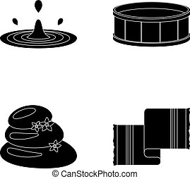 Drops of water, pool or basin with hot water, spa stones with lotus flowers, towel for the pool. Spa set collection icons in black style vector symbol stock illustration web.
