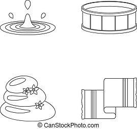 Drops of water, pool or basin with hot water, spa stones with lotus flowers, towel for the pool. Spa set collection icons in outline style vector symbol stock illustration web.