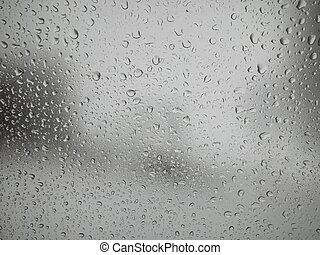 Drops on a car window glass