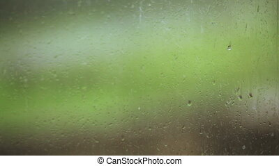 Drops on glass during rain
