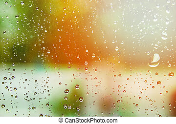 drops on glass summer background