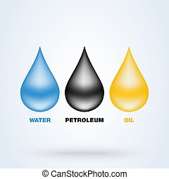 Drops set vector. collection of oil, petroleum and water realistic