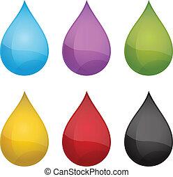drops., vecteur, illustration