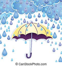 drops., vetorial, guarda-chuva, chuva