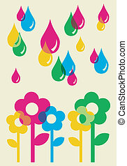 Drops watering flowers background