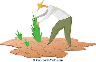 Drought and farming. Farmer growing plants on dry soil. Flat...