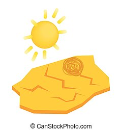 Drought cracked desert landscape icon in isometric 3d style...