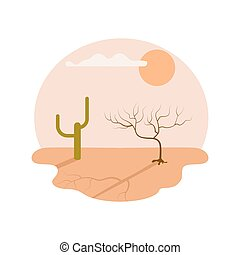Drought desert isolated vector icon
