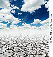 drought earth under deep blue sky with clouds. global warming