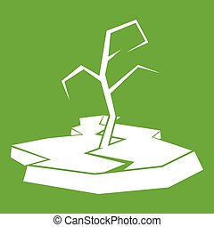 Drought icon green - Drought icon white isolated on green...