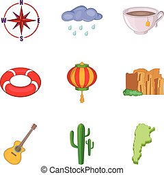 Drought icons set, cartoon style