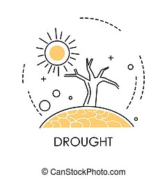 Drought isolated icon, dry earth and tree, desert and hot weather