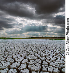drought land under dramatic sky