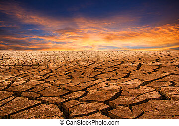 drought land with sunset