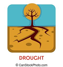 Drought natural disaster hot weather dry earth and tree
