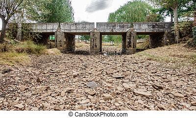 Drought river and bridge