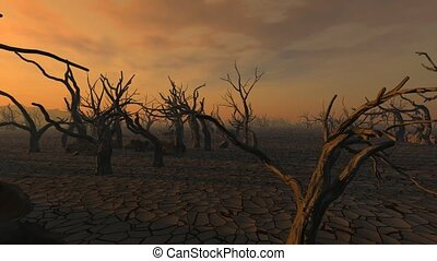 Drought - Dry mud and dead trees after a devastating drought