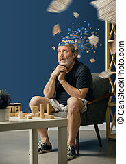 Old bearded man with alzheimer desease - Drown image of...