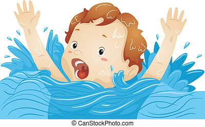 Drowning Boy - Illustration of a Drowning Boy Waving His...