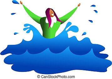 drowning business - an ethnic business woman drowning in...
